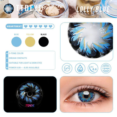 TTDeye Lolly Blue Colored Contact Lenses