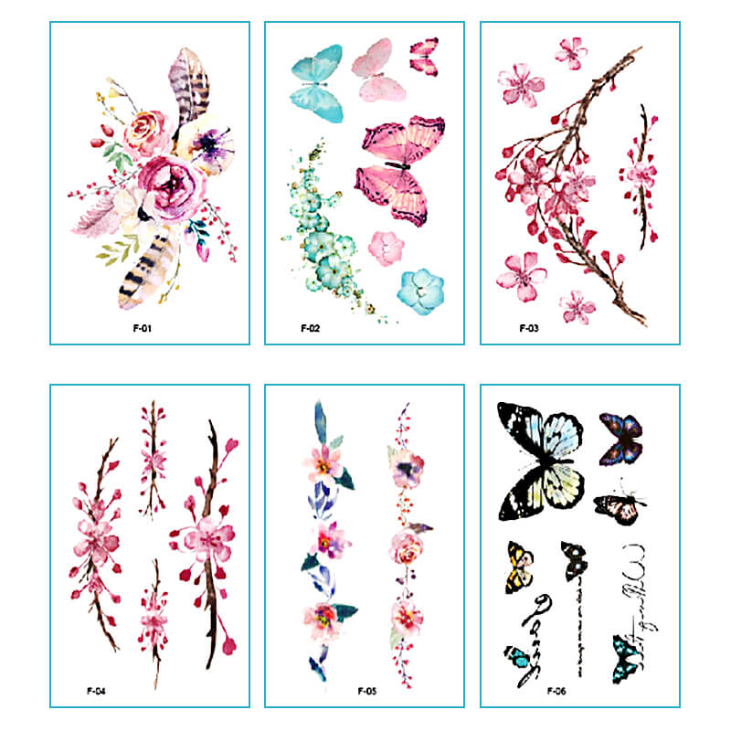 TTDeye Watercolor 30 Piece Tattoo Stickers