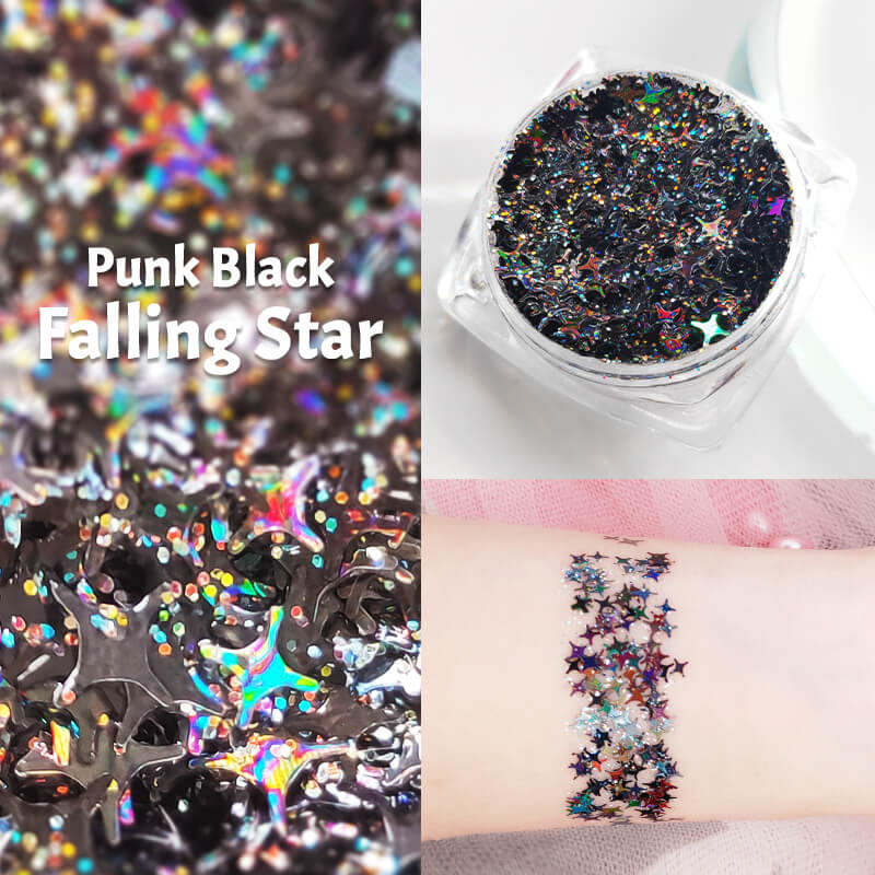TTDeye Punk Black Falling Star Glitter Gel