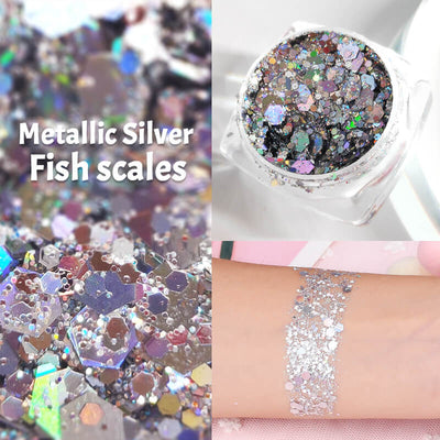 TTDeye Metallic Silver Fish Scale Glitter Gel