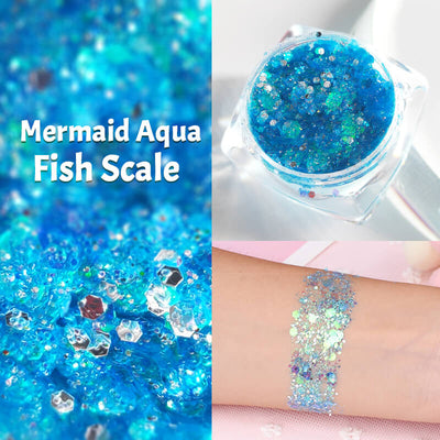 TTDeye Mermaid Aqua Fish Scale Glitter Gel