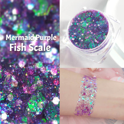 TTDeye Mermaid Purple Fish Scale Glitter Gel