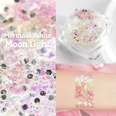 TTDeye Merimaid White Moon Light Glitter Gel