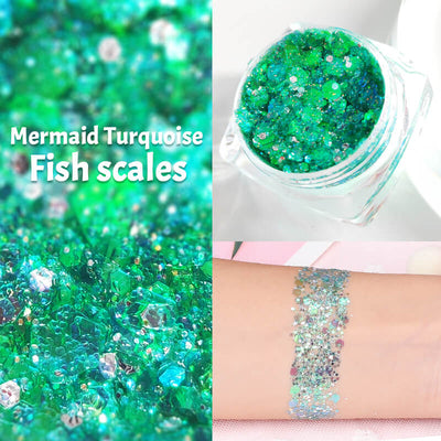 TTDeye Mermaid Turquoise Fish Scale Glitter Gel