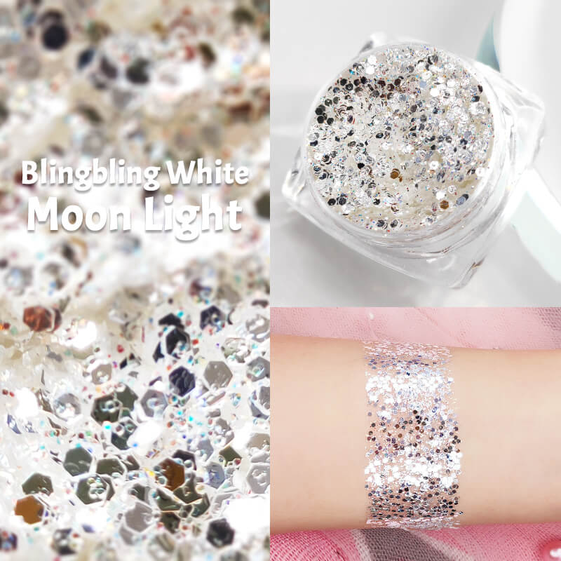 TTDeye Blingbling White Moon Light Glitter Gel