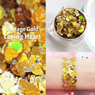 TTDeye Vintage Gold Loving Heart Glitter Gel