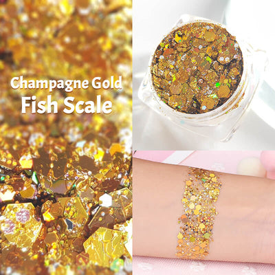 TTDeye Champagne Gold Fish Scale Glitter Gel