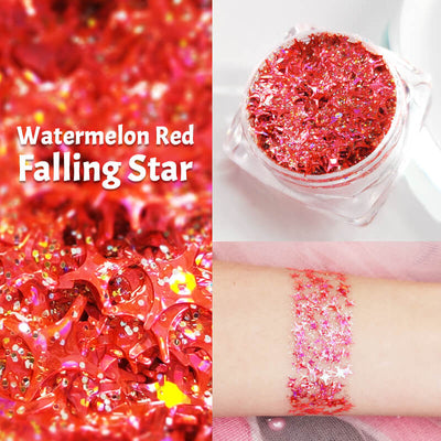 TTDeye Watermelon Red Falling Star Glitter Gel