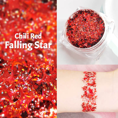 TTDeye Chili Red Falling Star Glitter Gel