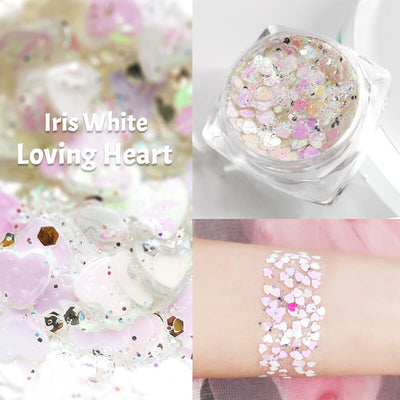 TTDeye Iris White Loving Heart Glitter Gel