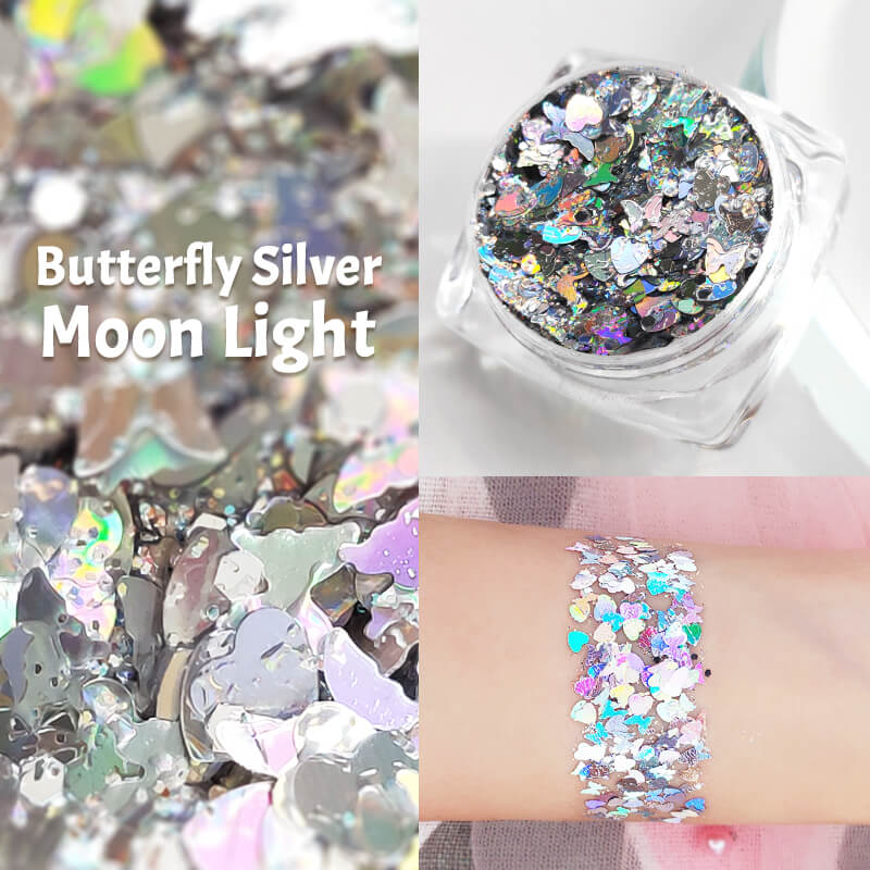 TTDeye Butterfly Silver Moon Light Glitter Gel