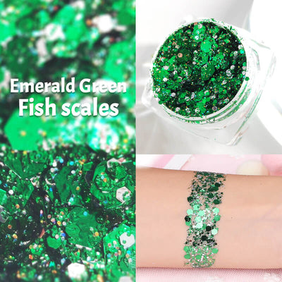 TTDeye Emerald Green Fish Scale Glitter Gel