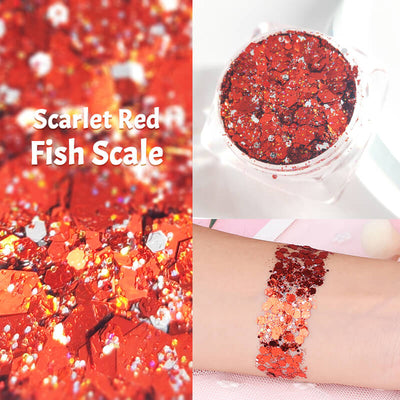 TTDeye Scarlet Red Fish Scale Glitter Gel