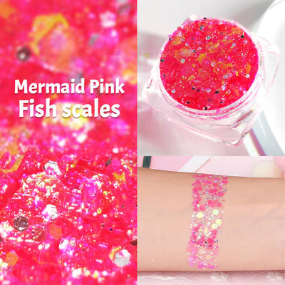 TTDeye Mermaid Pink Fish Scale Glitter Gel