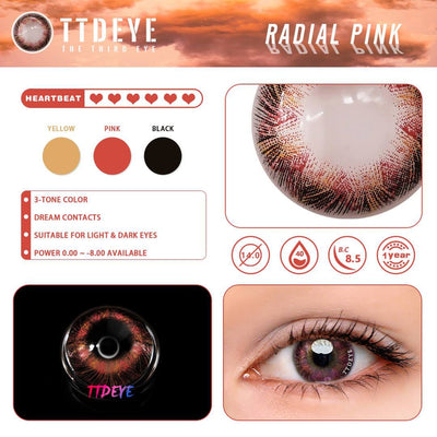 TTDeye Radial Pink Colored Contact Lenses