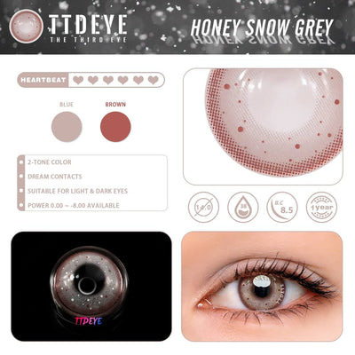 TTDeye Honey Snow Grey Colored Contact Lenses