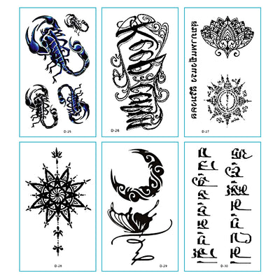 TTDeye Sanscrit 30 Piece Tattoo Stickers