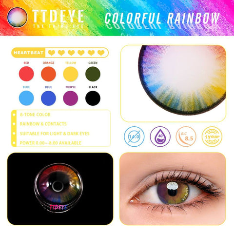 TTDeye Colorful Rainbow Colored Contact Lenses