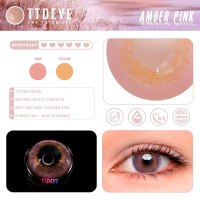 TTDeye Amber Pink Colored Contact Lenses