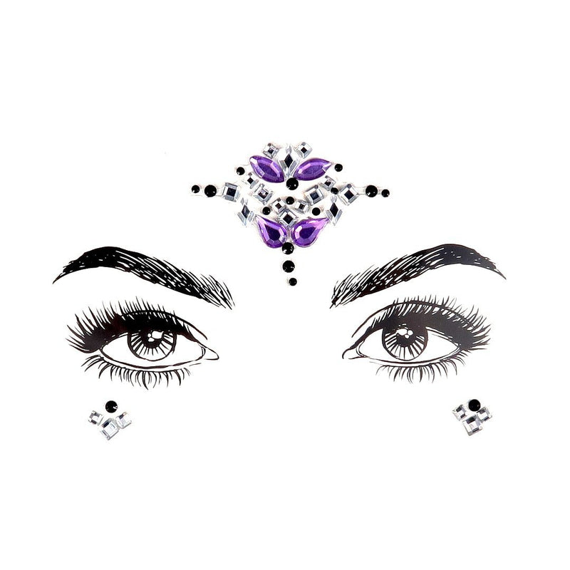 Purple Fairy Rhinestone Crystal Face Jewels