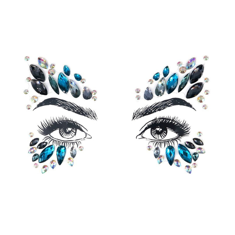 Butterfly Blue Rhinestone Crystal Face Jewels