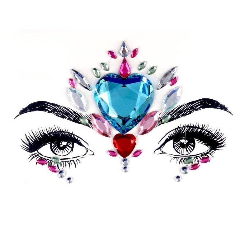 Ocean Heart Rhinestone Crystal Face Jewels