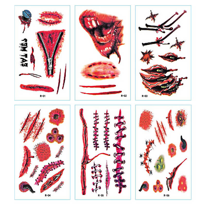 TTDeye Bleeding Scars 30 Piece Tattoo Stickers