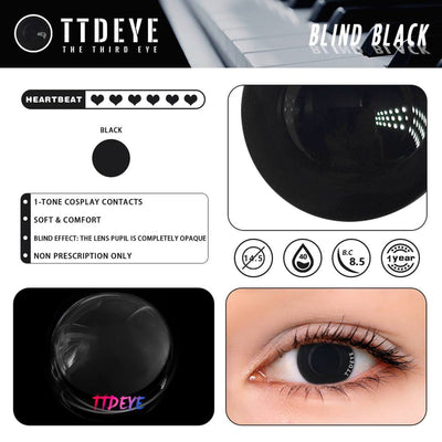 TTDeye Blind Black Colored Contact Lenses