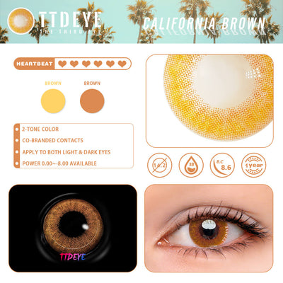 REAL x TTDeye California Brown Colored Contact Lenses
