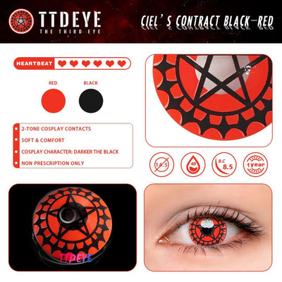 TTDeye Ciel's Contract Black-Red Colored Contact Lenses