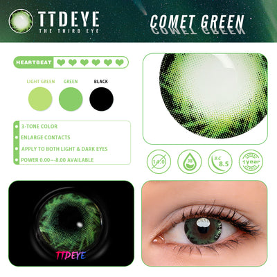 TTDeye Comet Green Colored Contact Lenses