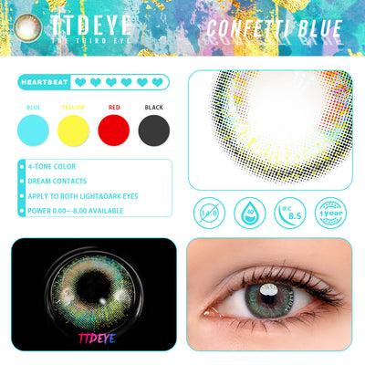 TTDeye Confetti Blue Colored Contact Lenses
