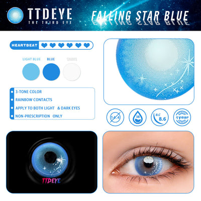TTDeye Falling Star Blue Colored Contact Lenses