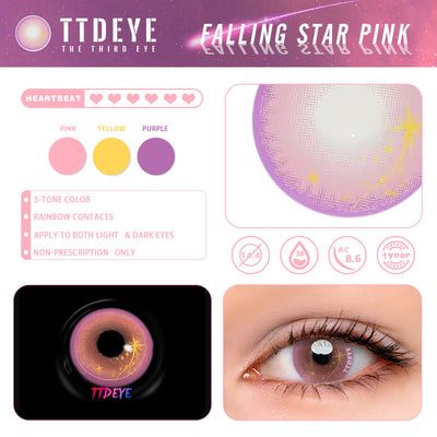 TTDeye Falling Star Pink Colored Contact Lenses
