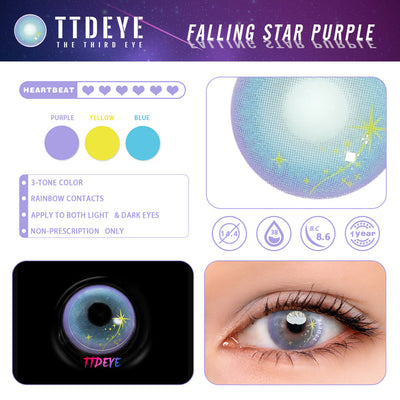 TTDeye Falling Star Purple Colored Contact Lenses