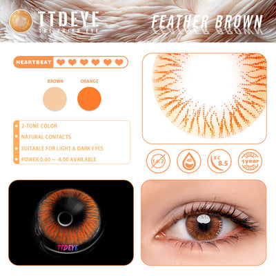 TTDeye Feather Brown Colored Contact Lenses