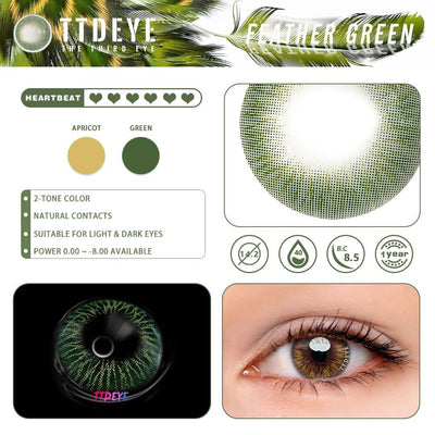 TTDeye Feather Green Colored Contact Lenses