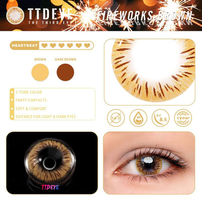 TTDeye Fireworks Brown Colored Contact Lenses