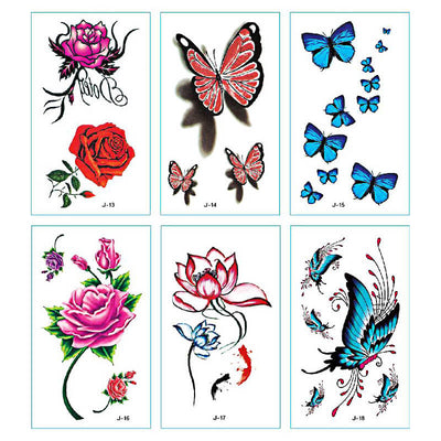 TTDeye Flower & Butterfly 30 Piece Tattoo Stickers