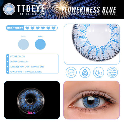 TTDeye Floweriness Blue Colored Contact Lenses