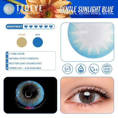 TTDeye Gentle Sunlight Blue Colored Contact Lenses