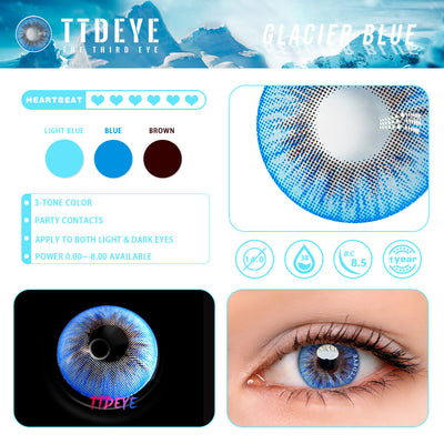 TTDeye Glacier Blue Colored Contact Lenses