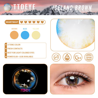 TTDeye Iceland Brown Colored Contact Lenses