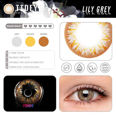 TTDeye Lily Grey Colored Contact Lenses