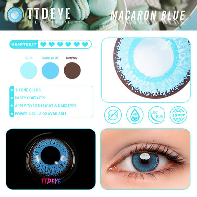 TTDeye Macaron Blue Colored Contact Lenses