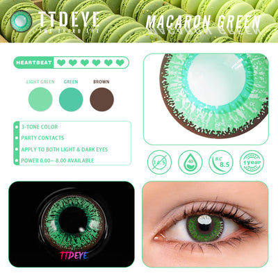 TTDeye Macaron Green Colored Contact Lenses