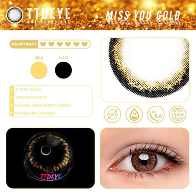 TTDeye Miss You Gold Colored Contact Lenses
