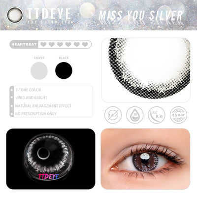 TTDeye Miss You Silver Colored Contact Lenses