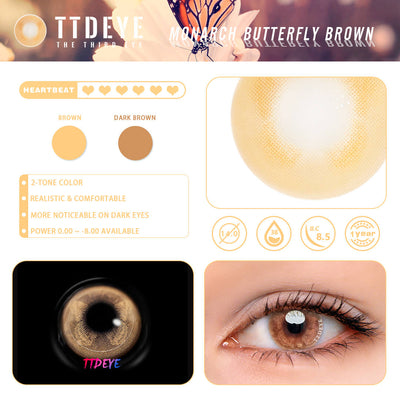 TTDeye Monarch Butterfly Brown Colored Contact Lenses