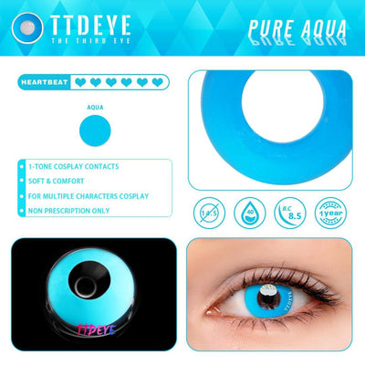 TTDeye Pure Aqua Colored Contact Lenses